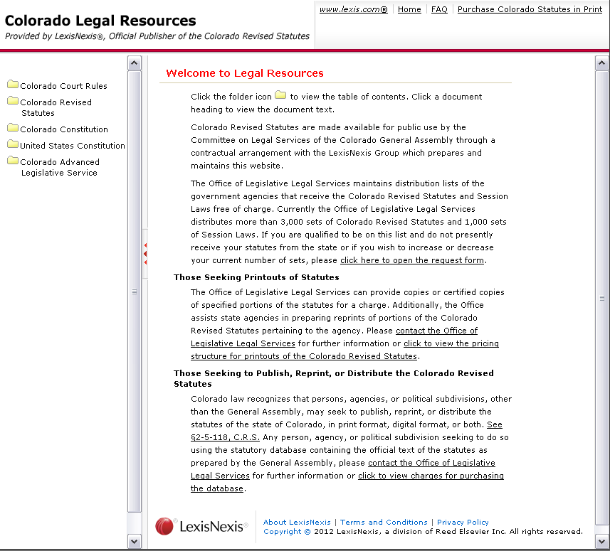 A New Look for the Colorado Revised Statutes On-Line