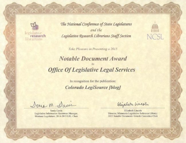 Colorado LegiSource: Happily Blogging Since September 1, 2011!