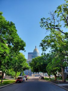 Photo of the Colorado State Capitol, framed by trees on Sherman Street. Taken on Sine Die 2021.